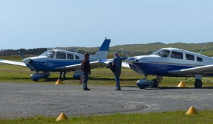 Pitch and Hitch about to board RCR for the flight back over Bass Strait.