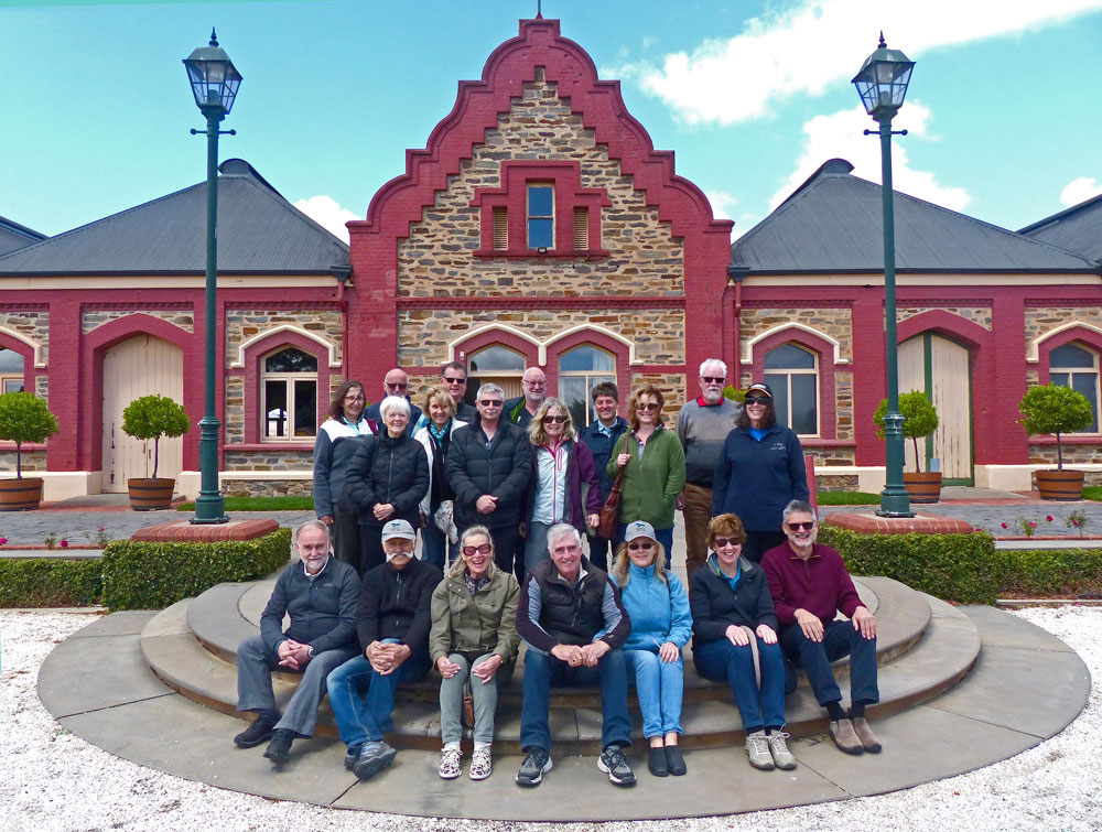 Group of 20 people outside Chateau Tanunda winery.